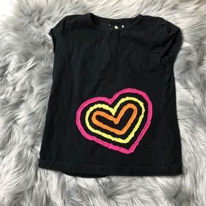 Jumping Beans black tee shirt with hearts 5 girl